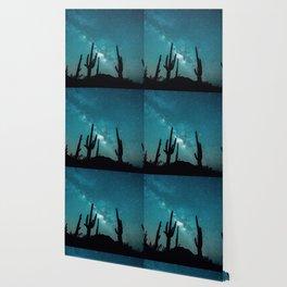 BLUE NIGHT SKY MILKY WAY AND DESERT CACTUS Wallpaper