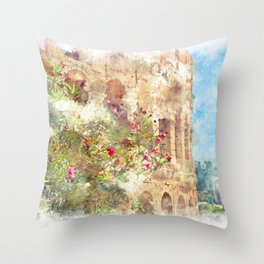blooming rhododendron on a background of Colosseum Throw Pillow