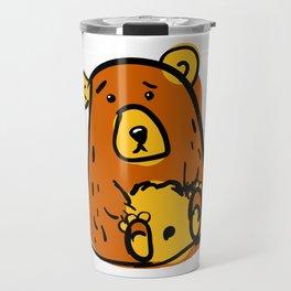 Scribble grumpy bear svg. Doodle clipar Travel Mug