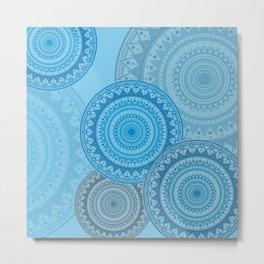 Blue on Blue mandala Metal Print