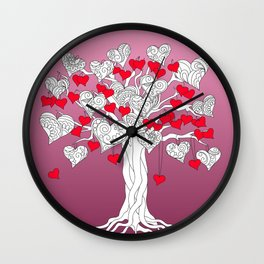 tree of love with hearts Wall Clock