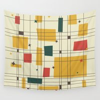 mid century Wall Tapestries featuring Mid-Century Modern by Studio Fibonacci