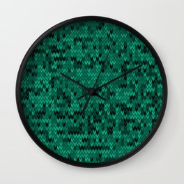 Green knitted textiles Wall Clock