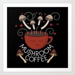 Mushroom Coffee (Dark) Art Print
