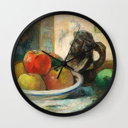 Still Life with Apples, a Pear, and a Ceramic Portrait Jug Wall Clock