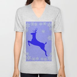 DECORATIVE LEAPING CHRISTMAS  BLUE DEER & SNOWFLAKES Unisex V-Neck