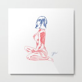 Fabulous Lady in Pink and Blue Metal Print