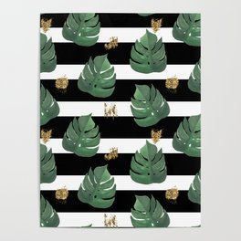 Tropical leaves pattern on stripes background Poster