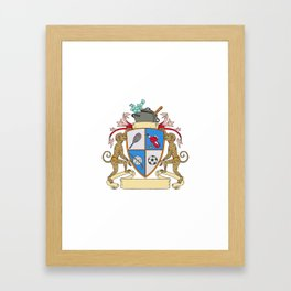 Monkey Money Cook Pot Sports Wine Coat of Arms Drawing Framed Art Print