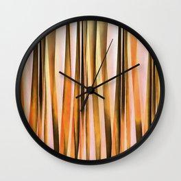 Orange Brown and Peach Autumn Stripy Lines Pattern Wall Clock