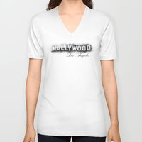 hollywood V-neck T-shirts featuring Hollywood by KitschyPopShop