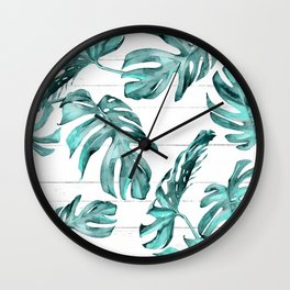 Turquoise Palm Leaves on White Wood Wall Clock