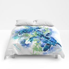 Sea Turtle Turquoise Blue Beach Underwater Scene HAwaii Florida Comforters