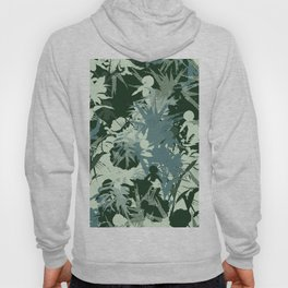 tropical silhouette with orchids and palms tonal Hoody