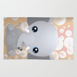 Elebubbles - Chibi Elephant (Peach) Rug