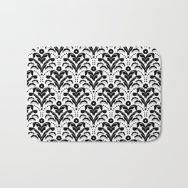 Retro Deco Damask Black and White Bath Mat