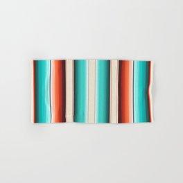 Navajo White, Turquoise and Burnt Orange Southwest Serape Blanket Stripes Hand & Bath Towel