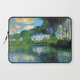 Fair-weather Clouds Reflected in the Lily Pond with Poplar Trees landscape painting by Claude Monet Laptop Sleeve