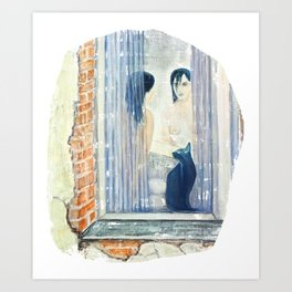 Katze am Fenster, Frau vor dem Spiegel Art Print
