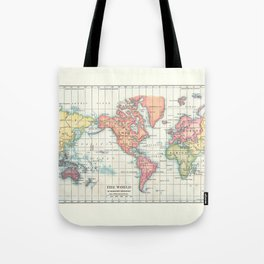 World Map - Colorful Continents Tote Bag