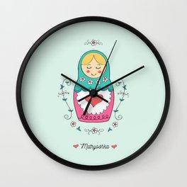 I heart Matryoshkas Wall Clock