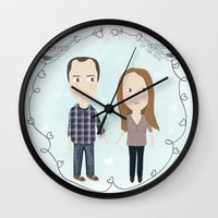 wedding Wall Clocks featuring wedding by mondebettina