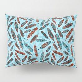 Tlingit Feathers Blue Pillow Sham