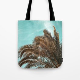 Summer Palm Leaf Print {1 of 3} | Teal Sun Sky Beach Vibes Tropical Plant Nature Art Tote Bag