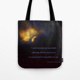 """""""Suspension Moon #120"""" with poem:  No Poem Tote Bag"""