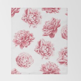 Pink Rose Garden on White Throw Blanket