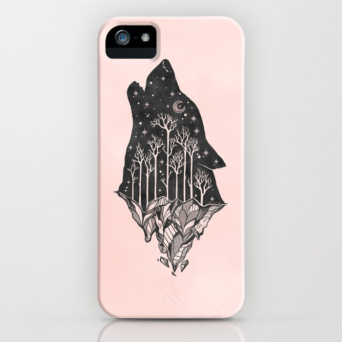 adventure wolf - nature mountains wolves howling design black on pale pink iphone case