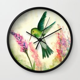 Hummingbird & Lupine watercolor Wall Clock