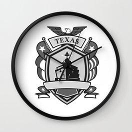 Texas Battleship Badge Grayscale Wall Clock