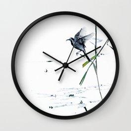 Little Bird (Wagtail - Eurasian Songbird) by The Reeds #decor #society6 #buyart Wall Clock