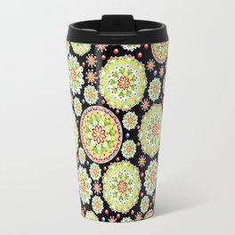 Lotus Mandala allover black ground Travel Mug