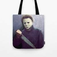 michael myers Tote Bags featuring Michael  by naidl