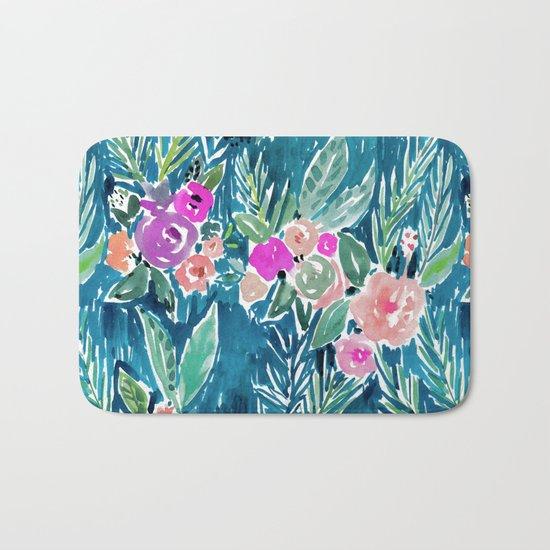 NAVY PARADISE FLORAL Tropical Hibiscus Palm Pattern Bath Mat