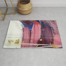 Los Angeles [3]: A vibrant, abstract piece in reds and blues and gold by Alyssa Hamilton Art Rug