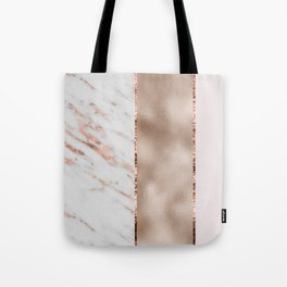 Rose metallic striping - marble and blush Tote Bag