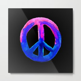 Pink Blue Watercolor Tie Dye Peace Sign Metal Print