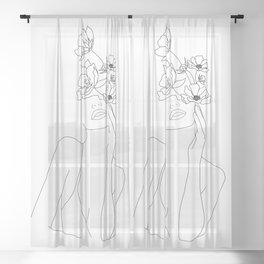 Minimal Line Art Woman with Flowers Sheer Curtain