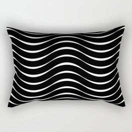 Vector Black and White Thick Wavy Lines Pattern Rectangular Pillow