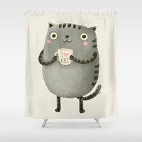 text Shower Curtains featuring I♥kill (brown) by Lime