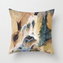 Crystal Falls Watercolour 1871 By Thomas Moran | Abstract Landscape Reproduction Throw Pillow