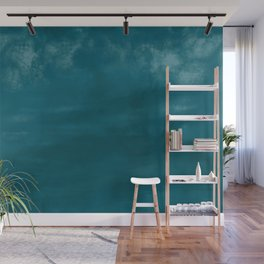 Burst of Color Tropical Dark Teal Inspired by Sherwin Williams 2020 Trending Color Oceanside SW6496 Abstract Watercolor Blend Wall Mural