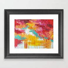 AUTUMN SKIES - Amazing Fall Colors Thunder Storm Rainy Sky Clouds Bold Colorful Abstract Painting Framed Art Print