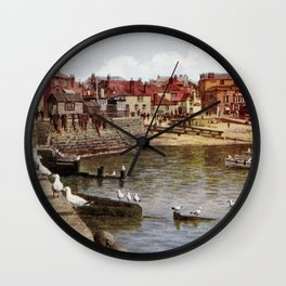 Aquarelle St Ives Cornwall Seagulls in the harbour Wall Clock