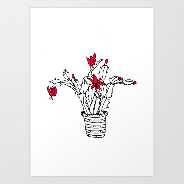 Christmas Cactus Succulent Line Drawing Plant Pot Art Print by carissatanton | Society6