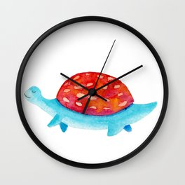 Red and blue dino | watercolor children illustration Wall Clock