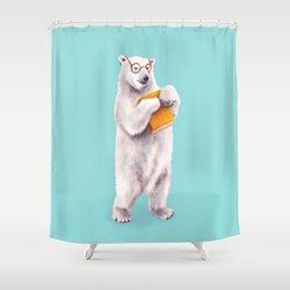 Smart Polar Bear Book Lover Shower Curtain